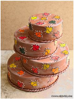 FALL THEMED CAKE with colorful maple leaves. These pretty leaves were  made using homemade leaf stamps. I learned the technique from Erin Gardner's fabulous @Craftsy course. Tutorial included...  #cakes #cakedecorating
