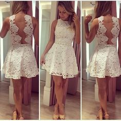A Line Lace Women Dress White Sleeveless Hollow Lolita Dresses. Discover and shop the latest women fashion, celebrity, street style you love on https://www.zkkoo.com