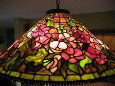 "Reproduction of Tiffany 28"" Hollyhock Lamp"
