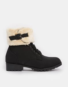 Truffle+Furry+Lace+Up+Ankle+Boots