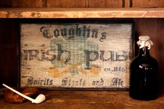 Personalized Early Antique Reproduction Primitive Wooden Irish Pub Sign. $54.00, via Etsy.