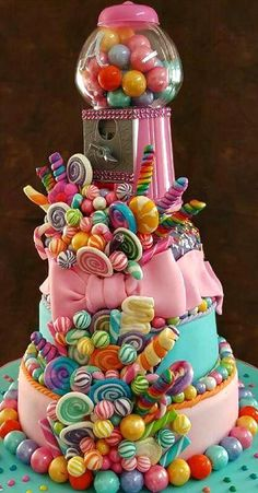 Candy Themed Cake My Big Day Events, Colorado Weddings, Parties, Corporate Event - colorful - kuchen kindergeburtstag Crazy Cakes, Fancy Cakes, Cute Cakes, Pretty Cakes, Beautiful Cakes, Amazing Cakes, Sweet 16 Cakes, Sweet Sixteen Cakes, Big Cakes