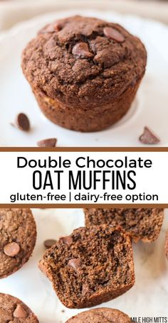 Enjoy your chocolate for breakfast the healthier way! These gluten-free Double Chocolate Oat Muffins are made with oat flour, some applesauce (for less sugar), and coconut oil (for a dairy-free option). Quickly made, and quickly devoured, these muffins are a great breakfast treat during the Summer or for a Holiday. #healthytreats #sweettreatsrecipe #healthydessertrecipe #healthychocolaterecipes #easydessertrecipe Oat Flour Muffins, Muffins Sans Gluten, Dairy Free Muffins, Healthy Muffins, Oat Pancakes, Oat Flour Cookies, Oatmeal Flour, Sugar Cookies, Chocolate Sin Gluten