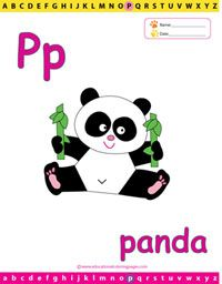 Panda Coloring Sheets For Letter P