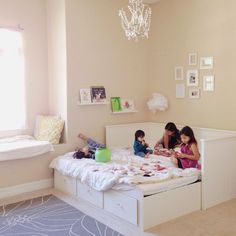 Love the big Ikea bed thats large enough for kids to lounge around on. Ikea Girls Room, Girls Bedroom, Bedrooms, Spare Bedroom Closets, Daybed Room, Fairy Bedroom, Ikea Bed, Little Girl Rooms, Kid Beds