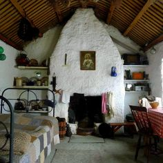 Irish cabin interior ... Glencolmcille, Co. Donegal, Ireland
