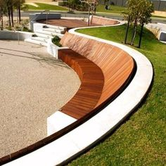 This contemporary curved bench seat in the landscape is so smart. Can you imagin… This contemporary curved bench seat in the landscape is so smart. Can you imagine relaxing and kicking back in the afternoon sun. The form would also… Continue reading → Villa Architecture, Landscape Architecture Design, Landscape Designs, Architecture Portfolio, Public Architecture, Concrete Architecture, Architecture Diagrams, Architecture Images, Landscape Architects