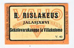 Rislakeus Jalasjärvi Sekatavarakauppa ja Villakutomo  #etiketti #tulitikku Finland, Childhood, Canning, Infancy, Home Canning, Childhood Memories, Conservation
