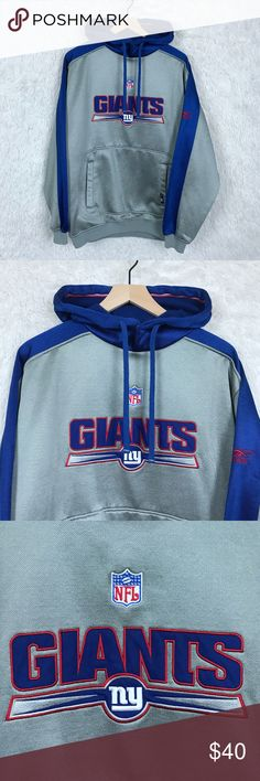 NY Giants Hoodie Blue Gray Reebok NFL Reebok NFL Team Medium New York Football Giants Mens Hoodie Sweatshirt Blue   Material: 100% Polyester  Measurements (in inches): Length: 29.5 (shoulder to hem) Chest: 45 (armpit to armpit x2) **All measurements are approximate**  Condition: Excellent Pre-Owned Condition. Loose stitch on back logo, see last picture.  Open To Reasonable Offers,  Smoke Free Home  4 NFL Sweaters