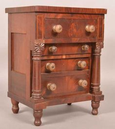 Pennsylvania Empire Mahogany Miniature Chest of Drawers. Four full width dovetailed drawers with th. Small Dresser, Art Watch, Dovetail Drawers, Chest Of Drawers, Dark Wood, Country Decor, Empire, Auction, Miniatures