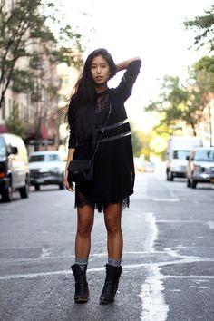 Alexander Wang x H&M shirt (worn as a dress - medium!), Pixie Market lace romper, Proenza Schouler crossbody, Jeffrey Campbell boots
