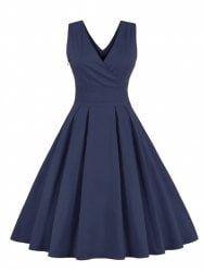 Retro Back Bowtie Midi Sleeveless Dress - PURPLISH BLUE