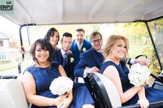 the Bridal Party having fun in the golf cart at Tulfarris gardens www.couple.ie
