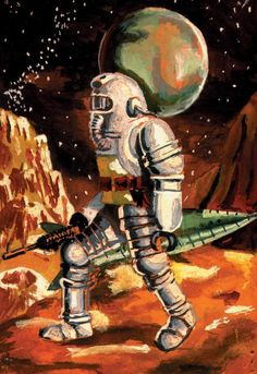 No info on this gorgeously handled painterly spaceman. Love the undersea quality of the suit and the super-stylization here. Science Fiction Art, Science Art, Pulp Fiction, Fantasy Movies, Sci Fi Fantasy, Gabriel, Spaceship Art, Futuristic Art, Weird Science