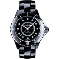 CHANEL J12 Black 38MM Ceramic Watch with Diamonds ($7,250) ❤ liked on Polyvore featuring jewelry, watches, diamond watches, bezel watches, bezel jewelry, chanel jewelry and chanel