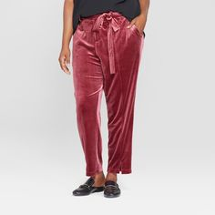 3b14b95916c Women s Plus Size Straight Leg Velvet Pants - Ava   Viv Burgundy (Red) 2X