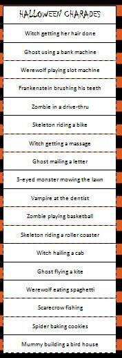 Free printable Halloween Charades Game