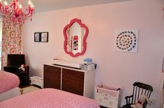 Little Girls' Shared Pink Bedroom is part of bedroom Pink Project Nursery - A girly pink bedroom for two adorable sisters, one 5 yr old and one old Bedroom Desk, Bedroom Storage, Kids Bedroom, Bedroom Color Schemes, Bedroom Colors, White Closet, Project Nursery, Nursery Ideas, Pink Bedrooms