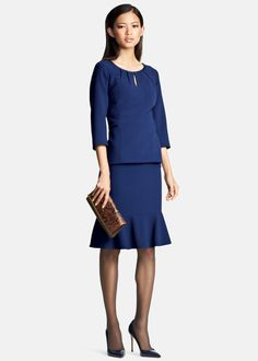 Our June blouse and Kaylin skirt in Lofty Crepe offers a fresh choice for the office - a great alternative to all your suiting options!