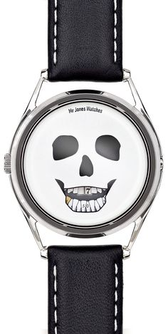 Mr. Jones Last Laugh Mechanical Watch | Free Shipping from Watchismo  This watch forgoes the customary hour and minute hands, instead the time is displayed on a skull's teeth. The upper row of teeth show the hours and the lower show the minutes. The eyes and the nose are mirrored and the overall impression is of a gleefully absurd memento mori - an object intended to remind us that life is brief (and that we should enjoy it while we're here!)