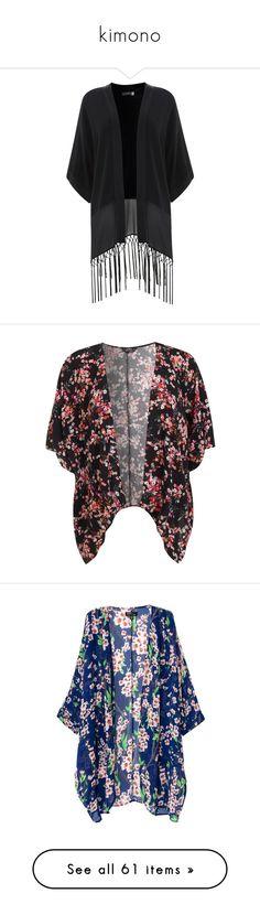 """kimono"" by julialeskiv ❤ liked on Polyvore featuring outerwear, jackets, kimono, cardigans, tops, black sheer kimono, kimono jacket, sheer kimono, black kaftan e fringe kimono"