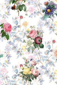 16 Ideas For Wallpaper Floral Pattern Color Palettes Accent Wallpaper, Old Wallpaper, Trendy Wallpaper, Flower Wallpaper, Wallpaper Backgrounds, Free Watercolor Flowers, Tumblr Flower, Flower Pattern Design, Pattern Ideas