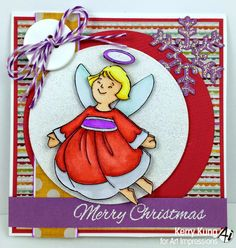 Art Impressions Rubber Stamps: Hope Angel (SKU# T4179) Handmade Christmas card.