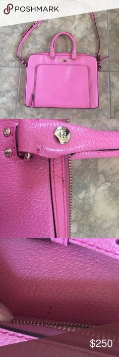 Kate Spade laptop bag Pink leather laptop bag with black poka dots inside. 15 wide 10.5 length. This is a used bag. There are nicks, and some small stains shown in the pictures. Please look   I love this bag, but I just don't use it that much. kate spade Bags Laptop Bags