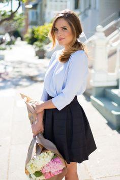 Fall Work Outfits: Glamour.com Silky Blouse + Pleated Mini. Pretty. Feminine.