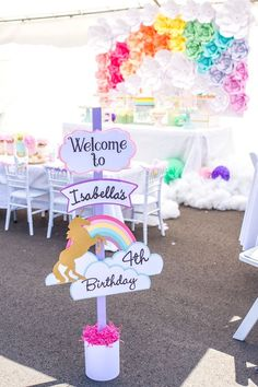 Unicorn birthday party decorations Unicorn themed birthday party Unicorn themed birthday B Unicorn Themed Birthday Party, Birthday Party Games, Rainbow Birthday, Unicorn Birthday Parties, First Birthday Parties, Birthday Party Decorations, Girl Birthday, Birthday Ideas, Unicorn Party Decor