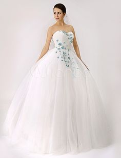 2015 Sweetheart Colored Ball Gown Wedding Dress with Flowers (Veil Included) - Milanoo.com