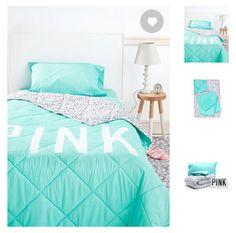 Victoria secret PINK teal bedding set  Comforter sheets&pillow cases all for $149