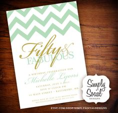 Surprise 50th Birthday Party Invitation with Chevron Mint Green and Gold.