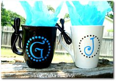 coffee mugs @Bridgett LaFevers - these are ca-ute! I need to find some plain mugs for Christmas gifts!