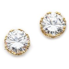 Kenneth Jay Lane Round CZ Stud Earrings (92 CAD) ❤ liked on Polyvore