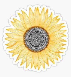 """Golden Mandala Sunflower"" Stickers by paviash Stickers Cool, Tumblr Stickers, Phone Stickers, Printable Stickers, Custom Stickers, Planner Bullet Journal, Sunflower Mandala, Sunflower Canvas, Plant Drawing"