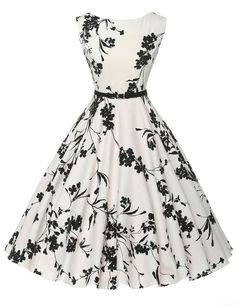 New Women Vintage 50s 60s Casual Dress Floral Printed Summer Sleeveless Style Retro Audrey Hepburn Swing Pinup Rockabilly dress