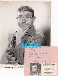 "MARVIN KAPLAN Vintage Original 1960 ""WAKE ME"" Photo & RARE Signed AUTOGRAPH Leaf"