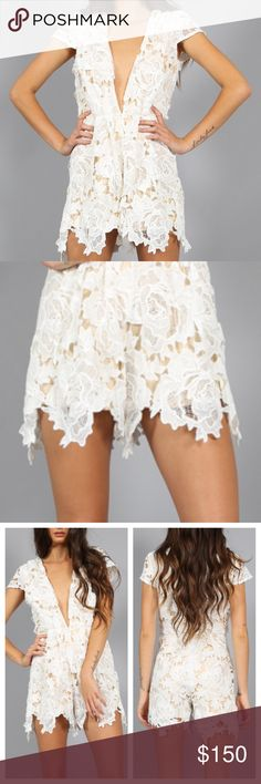 LACE ROMPER Floral Cap Sleeve Plunging V Jumpsuit Available Sizes: XS, M, L. New with tags. $98 Retail + Tax.   - Stunning lace embroidered romper featuring scalloped edges & plunging v-neckline.  - Perfect for dressing up or down, this killer piece pairs beautifully with heels. - Contrast nude lining.  - Zipper at back.   Polyester.  Imported; LIONESSOfficial.     {Southern Girl Fashion - Closet Policy}   ✔Bundle discount: 20% off 3+ items.   ✔️ Reasonable offers are considered when…