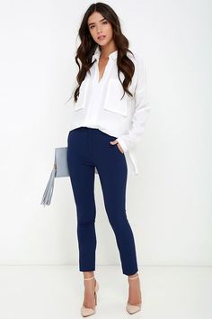 Vixen Vocation Navy Blue Trouser Pants at Lulus.com!