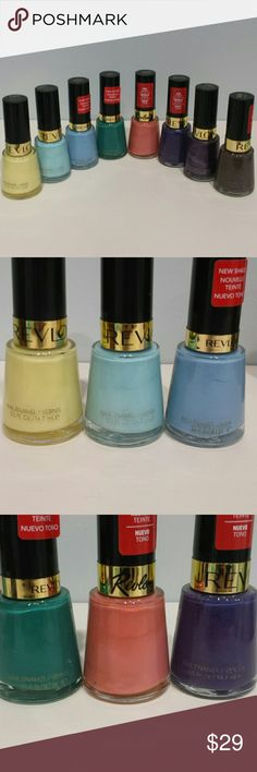 Revlon Nail Polish Bundle - Sunshine Sparkle - Blue Lagoon - Dreamer - Trendy - Demure - Rock - No Shrinking Violet - Perplex  All have been used once or twice.   No trades.   Please submit any offers through the offer option. Makeup