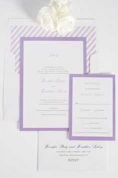 Modern Purple wedding invitations with striped envelope liner in lilac! www.shineweddinginvitations.com/blog/sophisticated-wedding-invitations-in-purple/