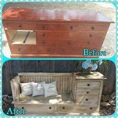 An old dresser repurposed into a chair with storage.