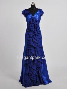 Royal Blue Sheath V-Neck Ruffled Cap Sleeves Floor-Length Chiffon and Silk-like satin Prom Dress (Ellen-1)$143.99