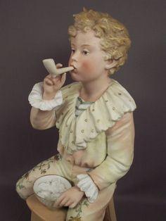 Lg! Antique Heubach German Bisque Victorian Boy Pipe Bubbles Piano Baby Figurine #Heubach