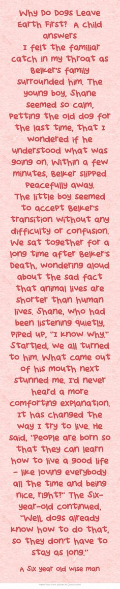 Why Do Dogs Leave Earth First? A child answers  I felt the familiar catch in my throat as Belker's family surrounded him. The young boy, Shane seemed so calm, petting the old dog for the last time, that I wondered if he understood what was going on. Within a few minutes, Belker slipped peacefully away. The little boy seemed to accept Belker's transition without any difficulty or confusion. We sat together for a long time after Belker's Death, wondering aloud about the sad...