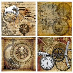 immediate download of four 4 X 4 inches of time and other mechanical instruments, printable download for paper crafts -- no. 377