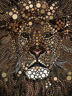 Mosaics Technique - alraheef on deviantART Dot Art Painting, Mandala Painting, Stone Painting, Mandala Design, Mandala Dots, Arte Black, Mosaic Artwork, Lion Art, Button Art