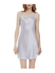 2c3220a6913a11 Unique Bargains Women s Plus Size Silky Lotus Leaf Hem Slip Basic Dress  Nightgown