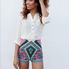 Aztec Shorts Super cute high waist shorts from #cecillee Cecil Lee Shorts